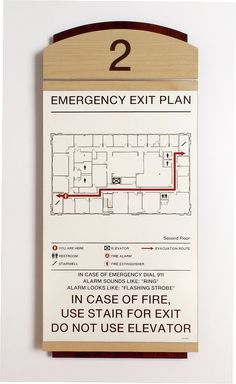 Fusion Evacuation Sign w/ insert.  #signage #wayfinding Signage Display, Wayfinding Signage, Signage Design, Map Design, Environmental Graphics, Environmental Design, Directory Signs, Emergency Exit Signs, Ada Signs