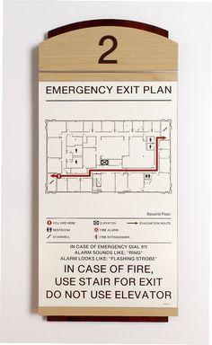 Fusion Evacuation Sign w/ insert. #signage #wayfinding