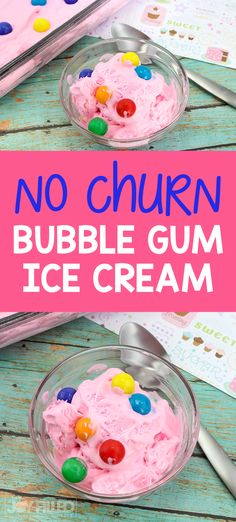 This bubble gum ice cream recipe is the perfect treat for summer.  It's super easy to make and is a fun treat for the kids. #homemadeicecream #icecreamrecipe #summertreat #icecream Easy No Bake Desserts, Best Dessert Recipes, Fun Desserts, Delicious Desserts, Party Recipes, Vegan Recipes, Bubble Gum Ice Cream, Have A Snickers, How To Make Bubbles