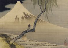"Katsushika Hokusai ""Boy viewing Mount Fuji"" 1839 富士と笛吹き童子図"