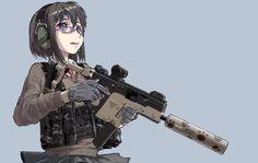 Cute operator girl with a KRISS Vector 45 - Tactical Anime Girls Anime, Anime Girl Cute, Manga Girl, Anime Art Girl, Vector 45, Kriss Vector, Anime Military, Military Girl, Rainbow Six Siege Anime
