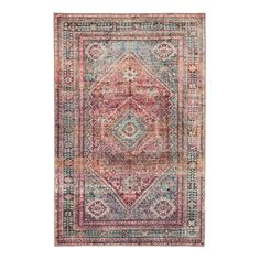 With its blanket-stitched edges and diamond motif in colorful shades of rose, burgundy and green, our Miramar rug is reminiscent of a prized Persian carpet. World Market Rug, Rug World, Burgundy Rugs, Blue And Copper, Green Diamond, Modern Carpet, Home Rugs, Tribal Rug, Small Rugs