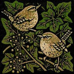 "Jill Kerr, ""Two Birds In The Bush"", linocut. Art And Illustration, Bird Quilt, Desenho Tattoo, Arte Popular, Wood Engraving, Tampons, Linocut Prints, Bird Prints, Woodblock Print"