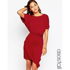 ASOS TALL Wrap Twist T-Shirt Mini Dress ($60) ❤ liked on Polyvore featuring dresses, red, asos, wrap dress, short red dress, open back mini dress and mini dress