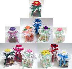 Flower Jar Lid Covers Crochet Pattern-