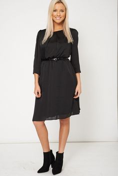 Belted Round Neck Dress Available In Plus Sizes
