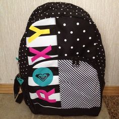 NWT Womens/Girls Roxy Multi-Color Black White Polka Dot School Backpack