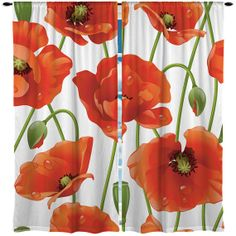 Custom Window Curtain Designer Red Poppies  Any Size  by redbeauty, $36.00