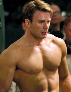 Chris Evans as Steve Rogers  I like Chris Evans like this; old-timey part in his nicely cut hair, clean-shaven.