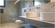 London Microcement is under construction Bathroom Layout, Bathroom Wall, Bathroom Interior, Small Bathroom, Sink Taps, Minimal Decor, Minimalist Bathroom, Concrete Floors, Bathtub