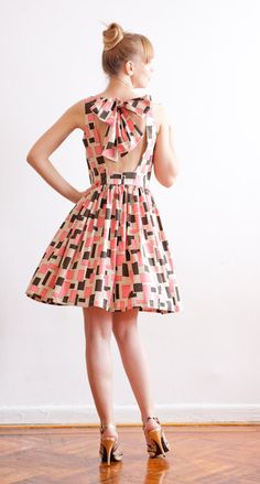 Open Back Graphic Print Cotton Dress  Made To Order by LanaStepul, $189.00