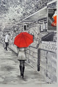 BOOKSELLERS ALONG THE SEINE by Loui Jover Small Drawings, Art Drawings, Nostalgia, Paris Poster, Studio Background Images, Red Umbrella, City Scene, Pen Art, Buy Prints