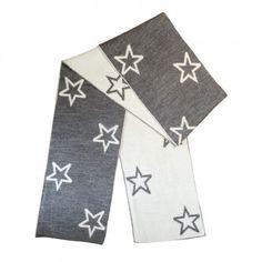 Scarf with stars dark grey, 152x16cm, 100% merino wool, BOCK Copenhagen