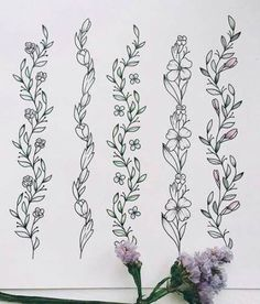 How To Draw Letters Paint Trendy Ideas Botanical Line Drawing, Floral Drawing, Botanical Illustration, Drawing Flowers, Vine Tattoos, Body Art Tattoos, Small Tattoos, Flower Tattoo Arm, Arm Tattoo