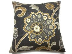 Decorative Pillow Cover Charcoal Gray Yellow by LynnesThisandThat, $20.00