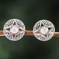 Silver filigree earrings, 'Harvest Moon'