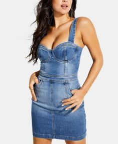 cf4249c587 Single Breasted Slit Front Overall Denim Dress