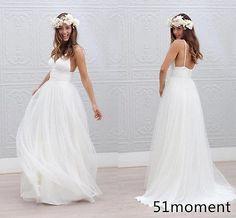 Bohemian Beach Wedding Dresses Backless Spaghetti Strap 2016 Fairy Bridal Gowns