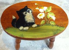 Tole Painted Wooden Stool                              Painted by CS Lent