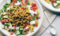 Spiced chickpeas & fresh vegetable salad - from Jerusalem a cookbook by Yotam Ottolenghi Fresh Vegetable Salad Recipes, Chickpea Salad Recipes, Pasta Salad Recipes, Healthy Salad Recipes, Vegetarian Recipes, Cooking Recipes, Diet Recipes, Veggie Meals, Fodmap Recipes