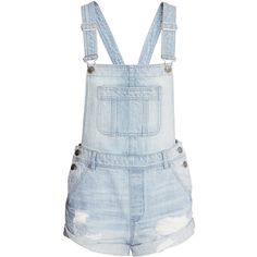 H&M Loves Coachella | H&M US ($35) ❤ liked on Polyvore featuring shorts, short overalls, overall shorts, destroyed denim shorts, overalls shorts and ripped shorts