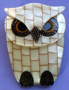 Lea Stein owl brooch. Faux mother of pearl. Photographed by Gillian Horsup.