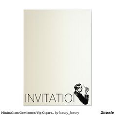 Minimalism Gentlemen Vip Cigars Man Ivory 9 Cm X 13 Cm Invitation Card