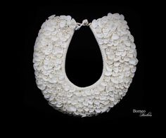 Pure White Shell Handwoven Necklace On Metal Display Stand, Handmade White Wedding Jewelry/Nautical, Cottage Chic Decor by BorneoHunters on Etsy