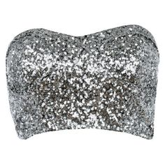 Silver Sequin Strapless Bralet ($24) ❤ liked on Polyvore