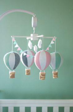Hot air balloon baby crib mobile balloon nursery by NicoAndMaddie