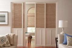 CMI shutters are truly shutters of distinction. Offering both Traditional louvered & Plantation style louvered shutters. Raised panel and fabric, stained glass or Tableaux insert styles are also available. Louvered Shutters, Custom Shutters, Wood Shutters, Wood Blinds, Rustic Window Treatments, Window Treatments Living Room, Living Room Windows, Norman Shutters