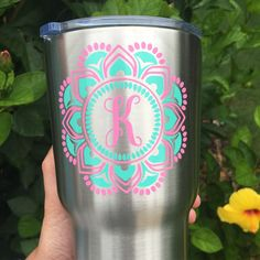 A personal favorite from my Etsy shop https://www.etsy.com/listing/474071605/initial-mandala-monogram-decal-for-yeti