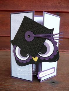 Stampin' Up! Top Note by Megumis Stampin Retreat: Mr. Owl Happy Graduation Card - he he this card makes me giggle Tarjetas Stampin Up, Stampin Up Cards, Graduation Cards Handmade, Owl Punch Cards, Owl Card, Congratulations Card, Paper Cards, Kids Cards, Cute Cards