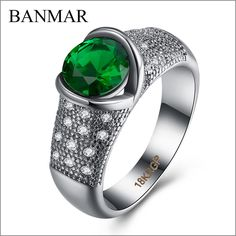 BANMAR Fashion Women's Green Ring White Zircon Silver Filled Jewelry Vintage Party Wedding Rings For Women Female Girls Anillo