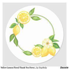 Yellow Lemon Floral Thank You Favor Tag Sticker Lemon Drawing, Pomegranate Art, Lemon Art, Henna Night, Wreath Drawing, Stamp Printing, Logo Sticker, Anime Art Girl, Favor Tags