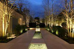 Garden Lighting Design by John Cullen Lighting - Modern Garden Lighting Tips, Plant Lighting, Backyard Lighting, Outdoor Lighting, Lighting Ideas, Portfolio Lighting, Landscape Lighting Design, Outdoor Landscaping, Exterior Lighting