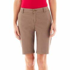 Basics in black & white Liz Claiborne Twill Chino Bermuda Shorts  found at @JCPenney