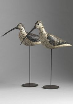 Two Curlew Decoys - Hand Carved and Painted Cork, with Original Glass Eyes French, c.1900