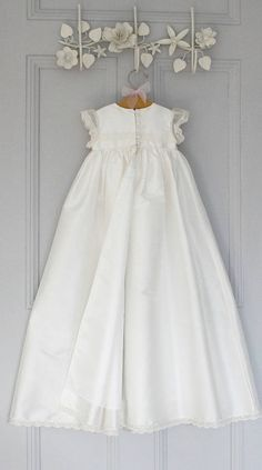 Silk Christening gown with lace