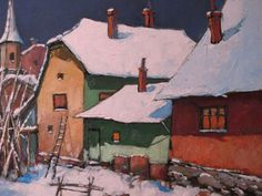 Old street of Bucharest | David Croitor, 1958  - great texture and weight to the paint