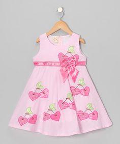 This Light Pink Cherry Heart A-Line Dress - Toddler & Girls is perfect! #zulilyfinds