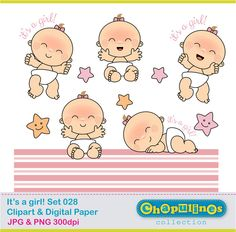Baby girl clipart- baby shower clipart, newborn illustrations digital clipart…