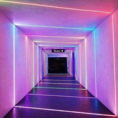 Path to La La Land in in Rainbow Aesthetic, Purple Aesthetic, Aesthetic Rooms, Aesthetic Photo, Light Tunnel, Light Installation, Neon Lighting, Light Art, Vaporwave