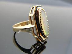 Art Deco Ladies Opal Ring with Black Enamel