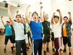 The cast of Newsies in rehearsal.