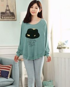 CW15810 Cartoon Korean style pajamas enlarge sets for women