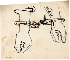 Andy Warhol no title (Two Hands in Handcuffs), ca. 1953 ink, gouache and graphite on paper Andy Warhol Drawings, Andy Warhol Art, Handcuffs Drawing, Artist Pens, American Artists, Black Art, Art World, Art Inspo, Pop Art