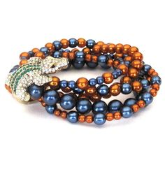 Reserved For Marilyn Rhinestone Alligator Stretch Bracelet With Gl Pearls Orange And Blue