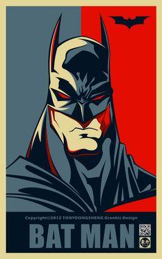 batman portrait style obama hope Super Heros: Galerie de Portraits style Affiche Obama Hope