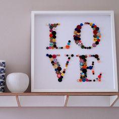 framed 'love' button artwork by hello geronimo | notonthehighstreet.com